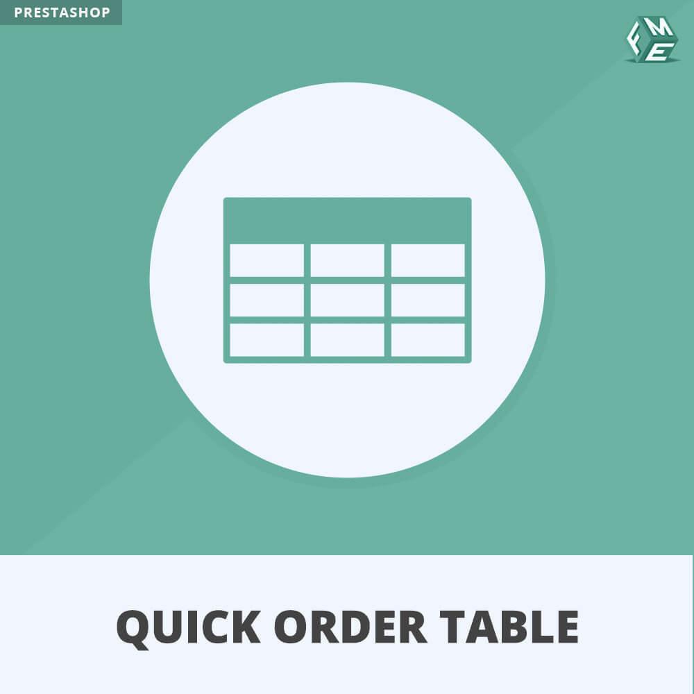 module - Gestion des Commandes - Quick Order Table - 1