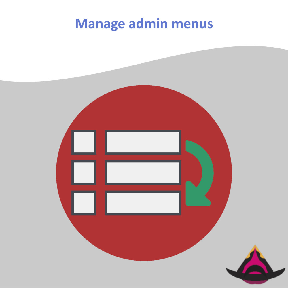 module - Меню - Manage the layout of the admin menus - 1