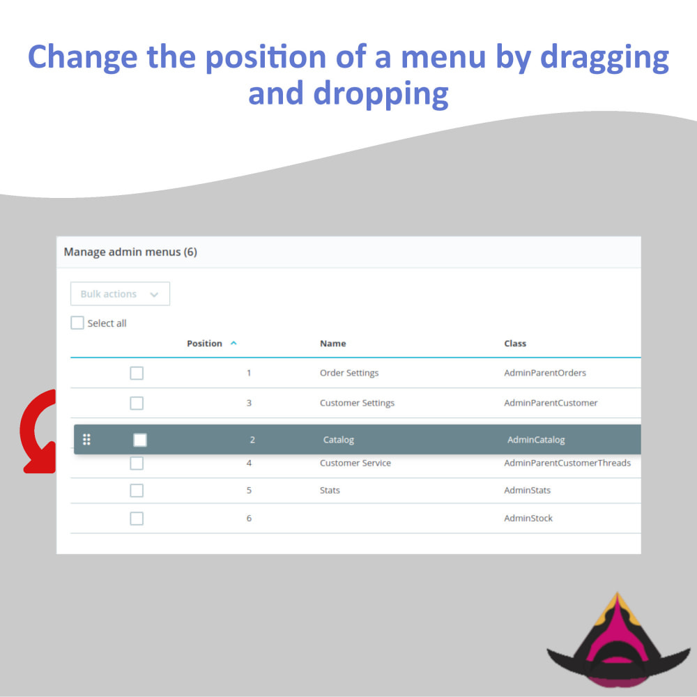 module - Меню - Manage the layout of the admin menus - 2