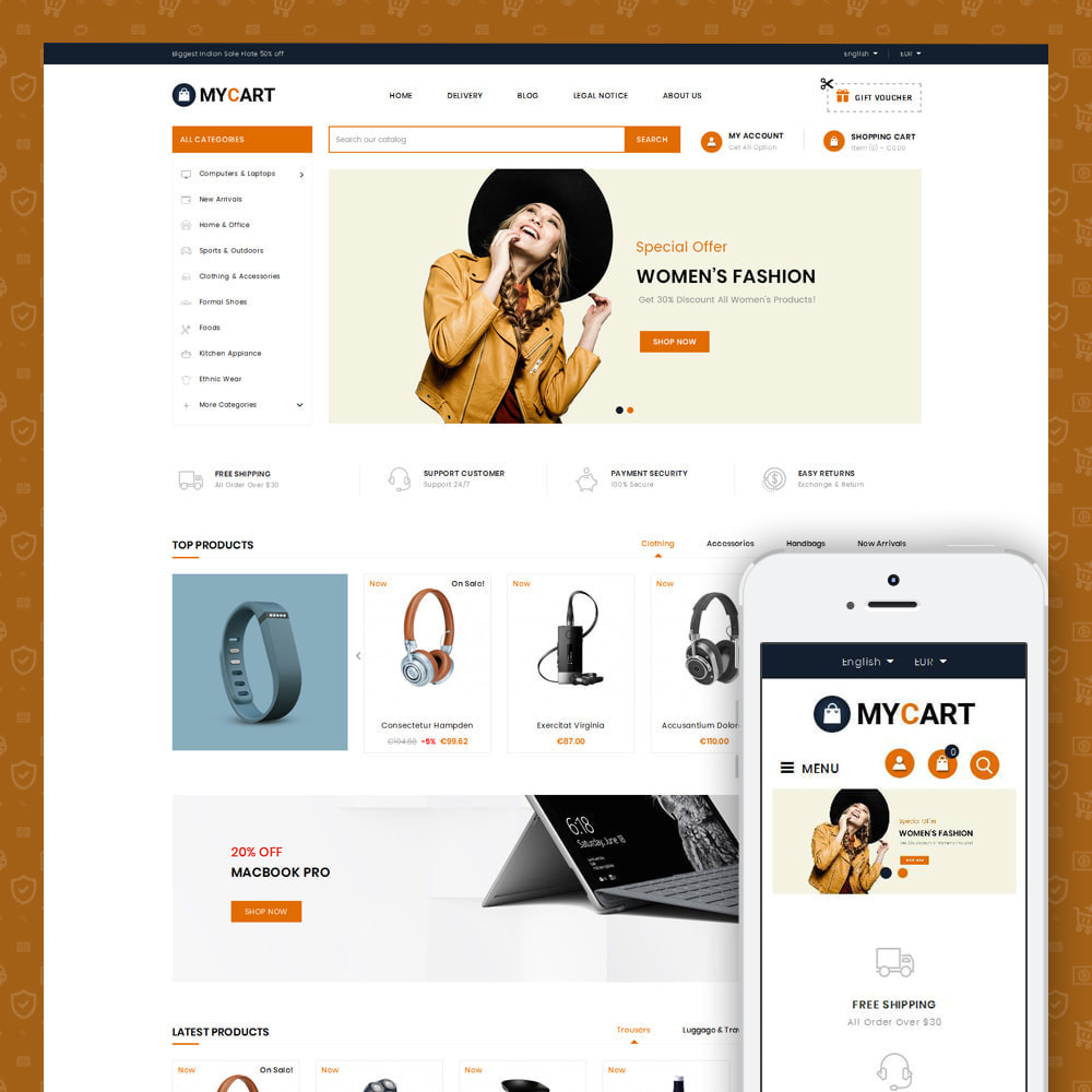 theme - Electronics & Computers - MyCart - Online Mega Store - 1
