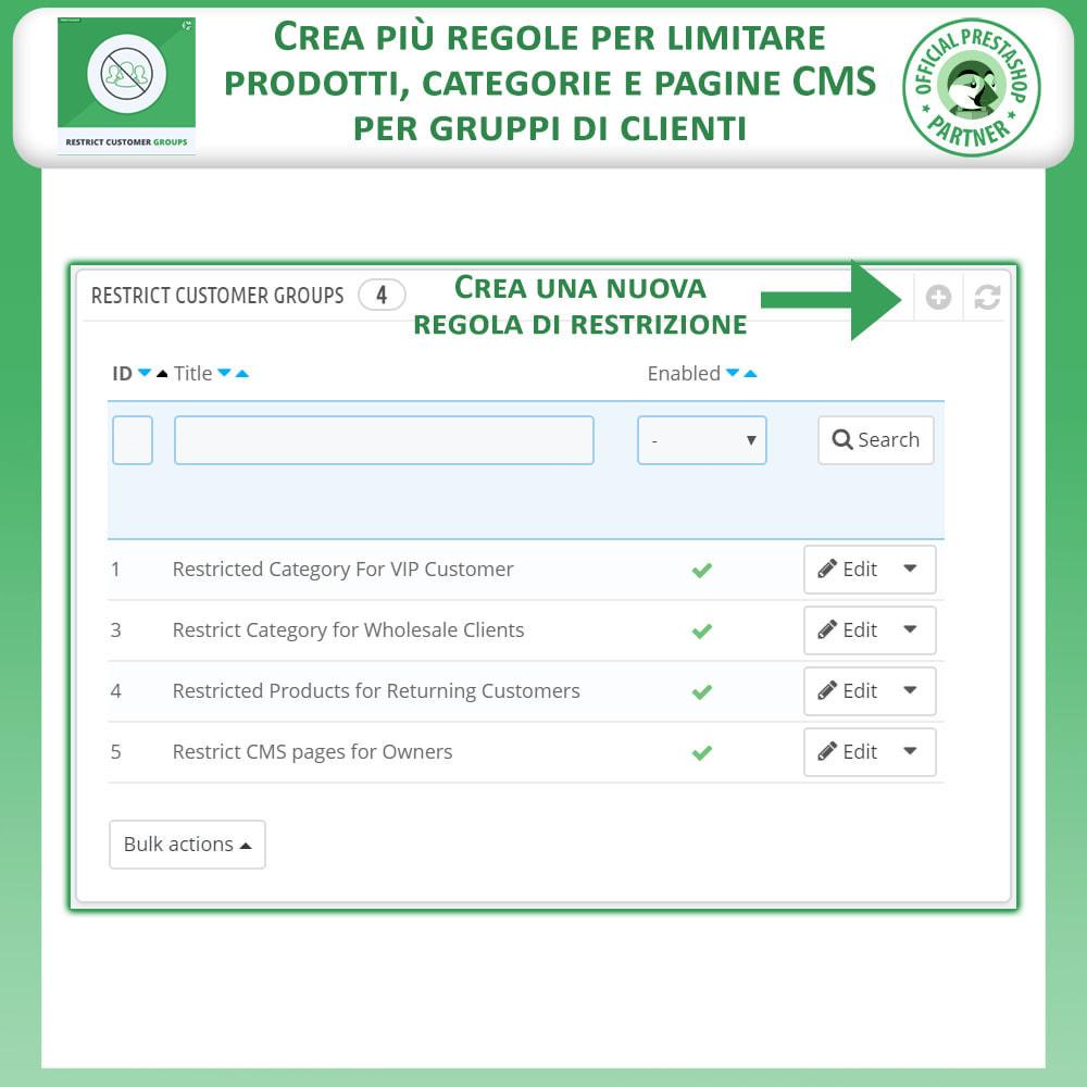 module - Altre informazioni & Product Tab - Limita prodotti, categorie e CMS per gruppi di clienti - 2