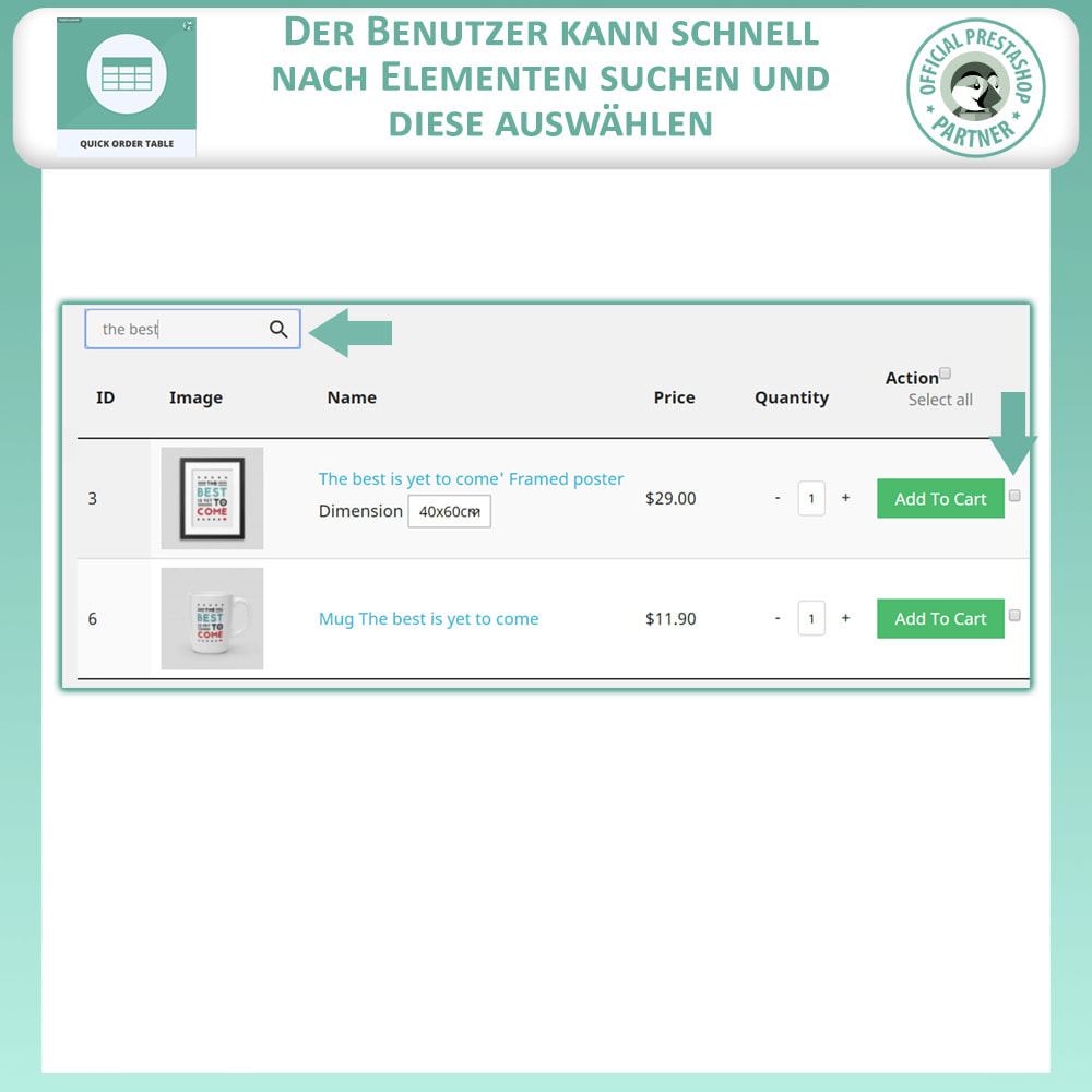 module - Auftragsabwicklung - Quick Order Table - 4
