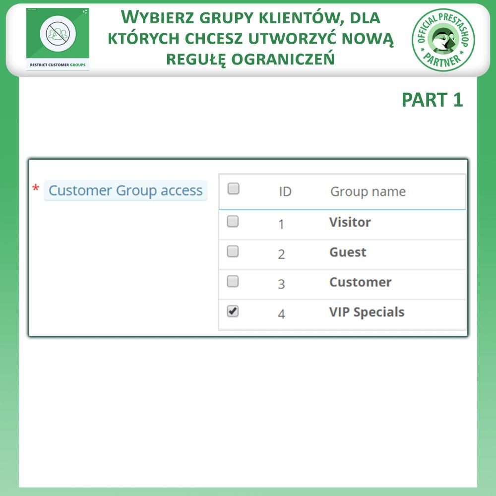 module - Dodatkowe informacje & Zakładka produktu - Ogranicz Produkty, Kategorie i CMS Według Grup Klientów - 4