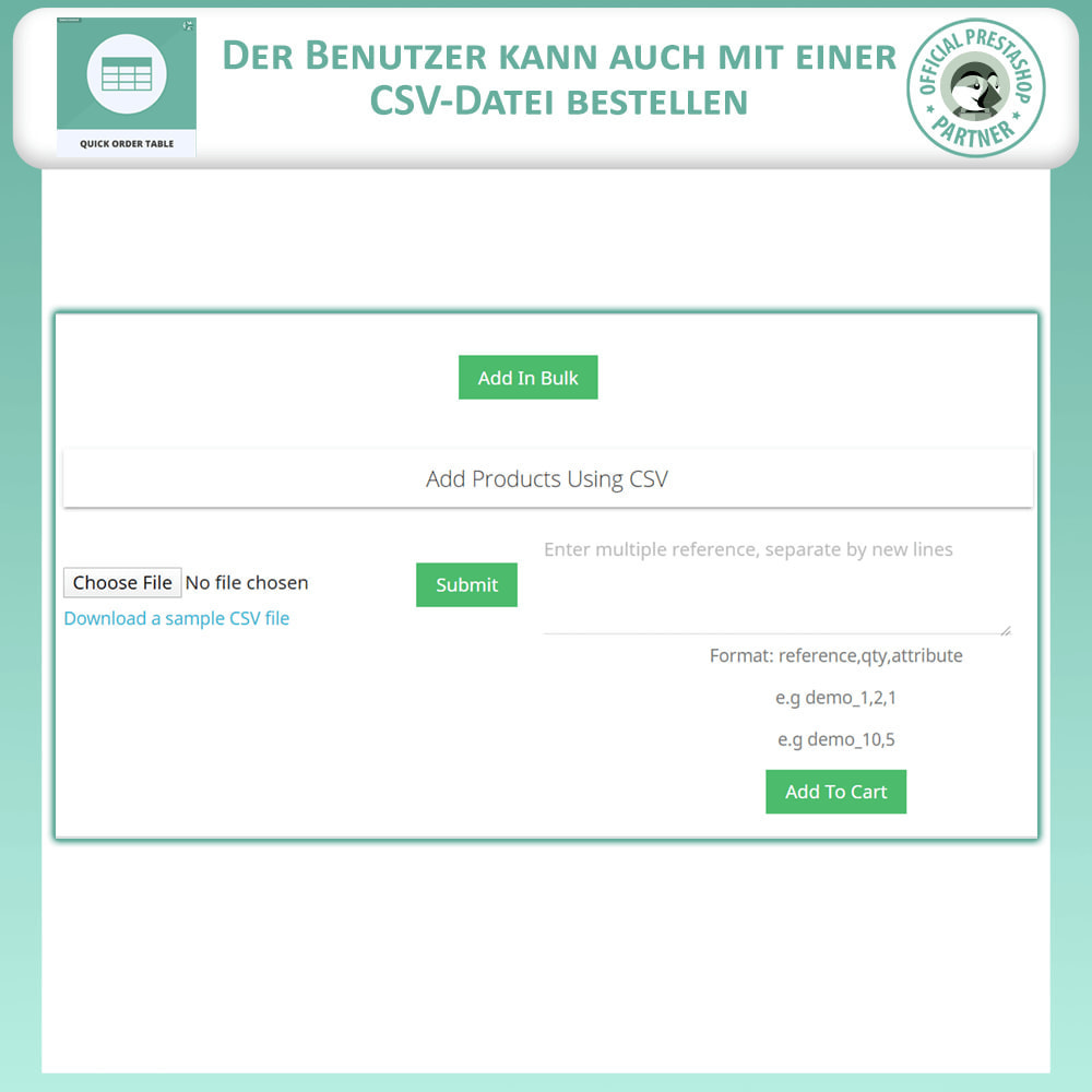 module - Auftragsabwicklung - Quick Order Table - 6