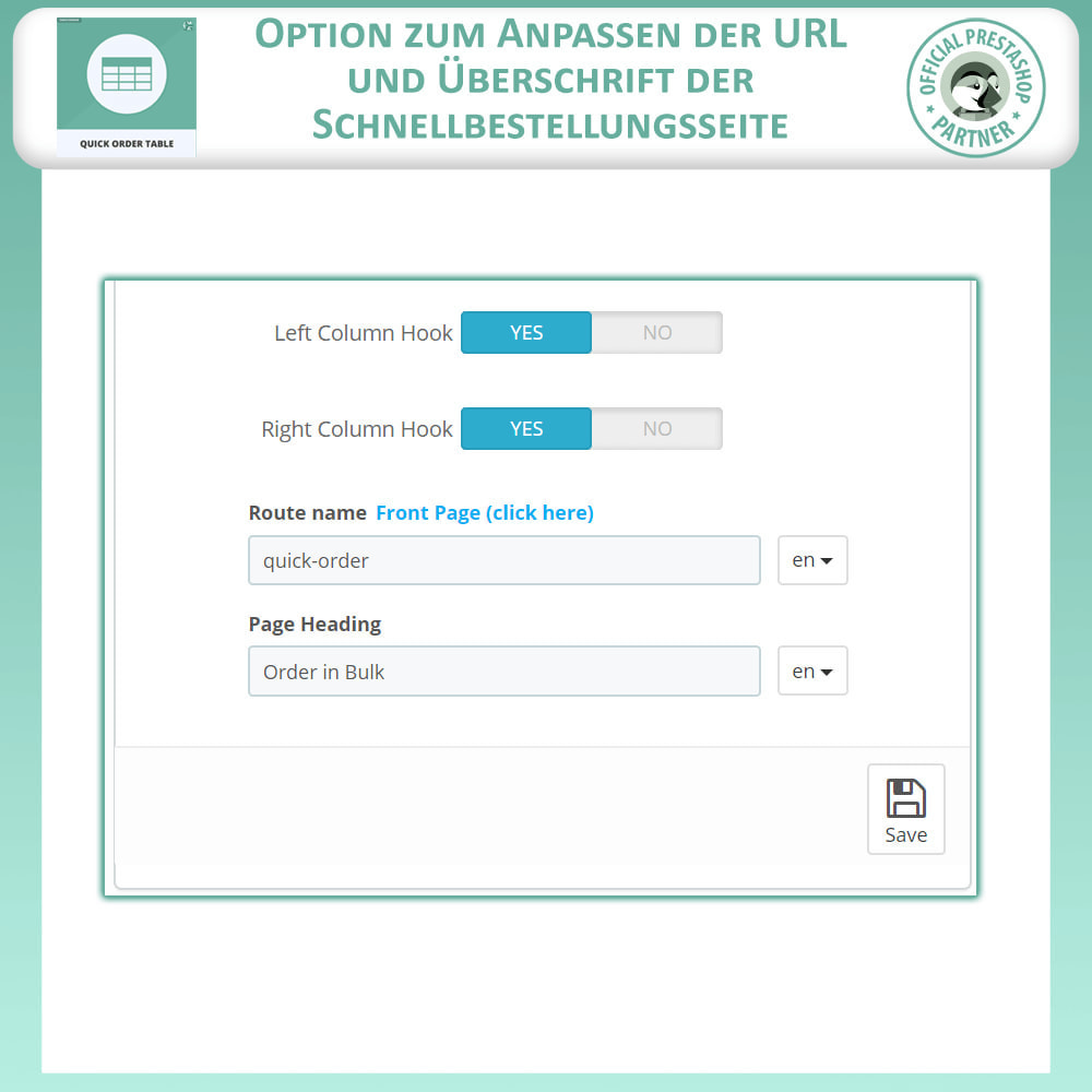 module - Auftragsabwicklung - Quick Order Table - 8