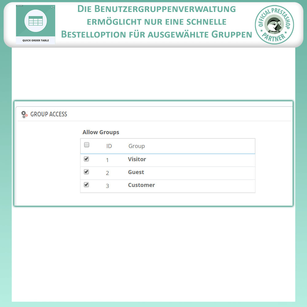 module - Auftragsabwicklung - Quick Order Table - 9