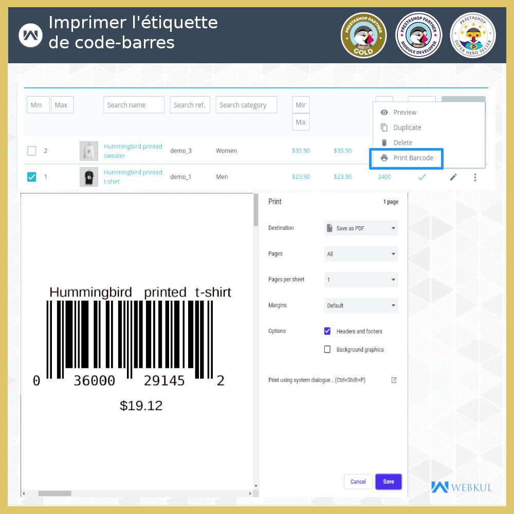 module - Préparation & Expédition - Étiquette code-barres de produit | générateur de code - 1