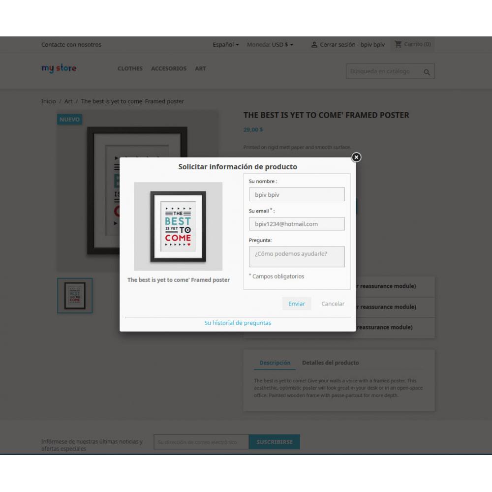 module - Informaciones adicionales y Pestañas - Pregunta en página de producto y gestión histórico - 3