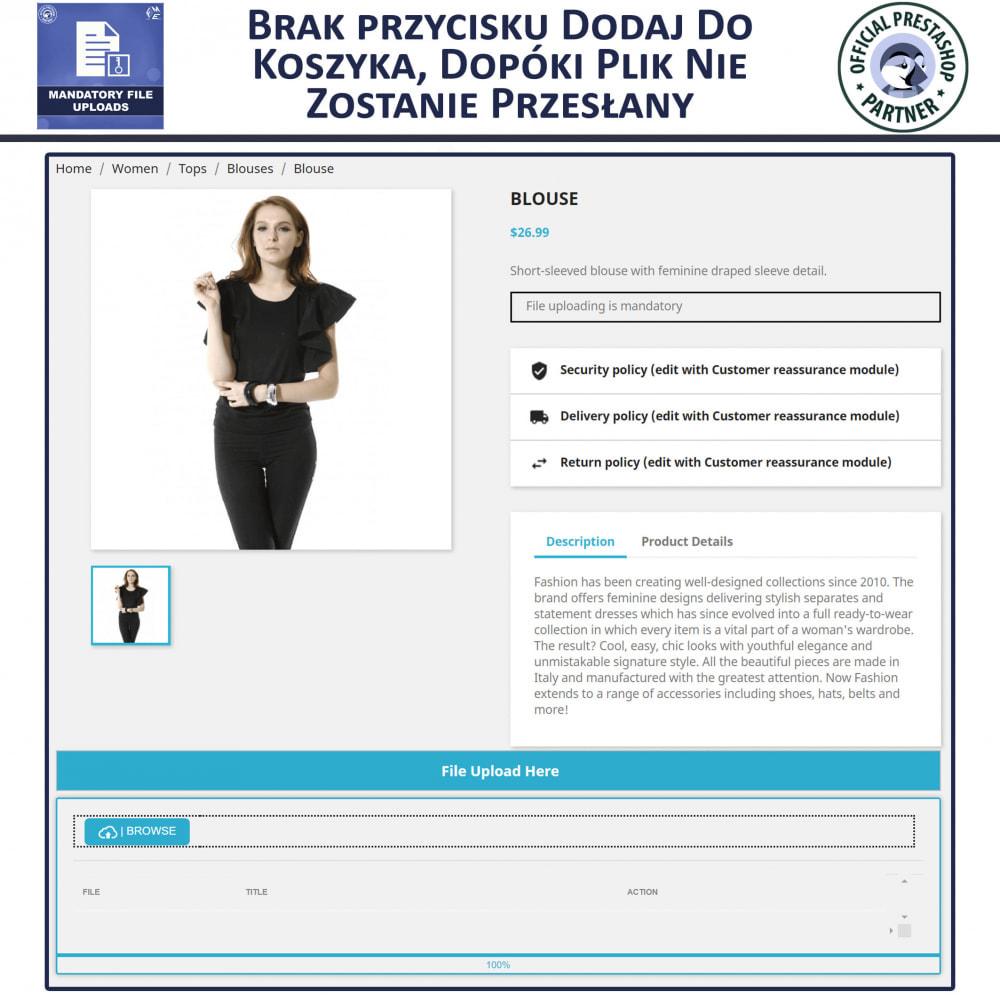 module - Dodatkowe informacje & Zakładka produktu - Obowiązkowe Przesyłanie Plików - 3
