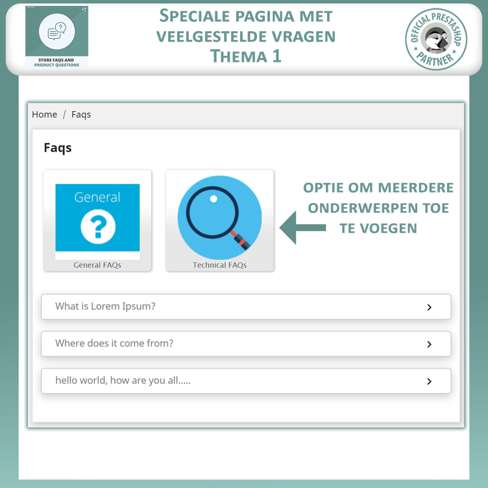 module - FAQ (Veelgestelde vragen) - Winkel FAQs + Product FAQs (Veelgestelde Vragen) - 3
