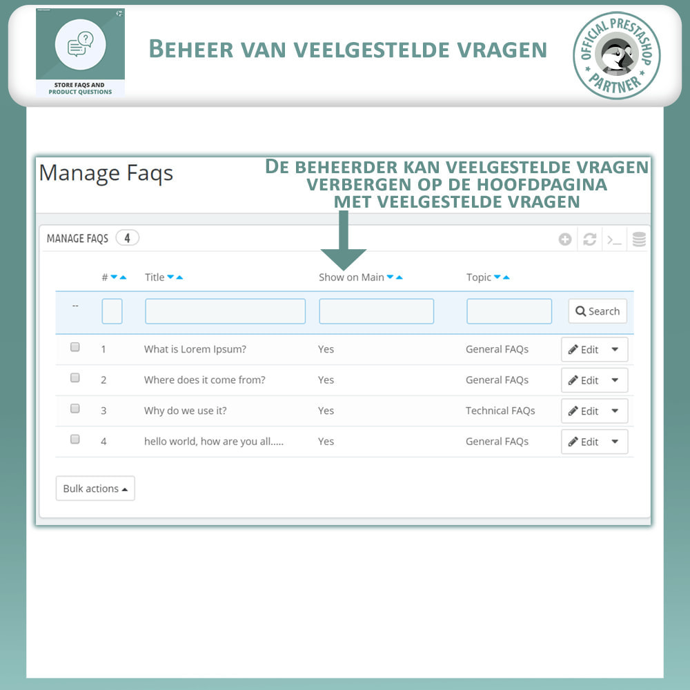 module - FAQ (Veelgestelde vragen) - Winkel FAQs + Product FAQs (Veelgestelde Vragen) - 11