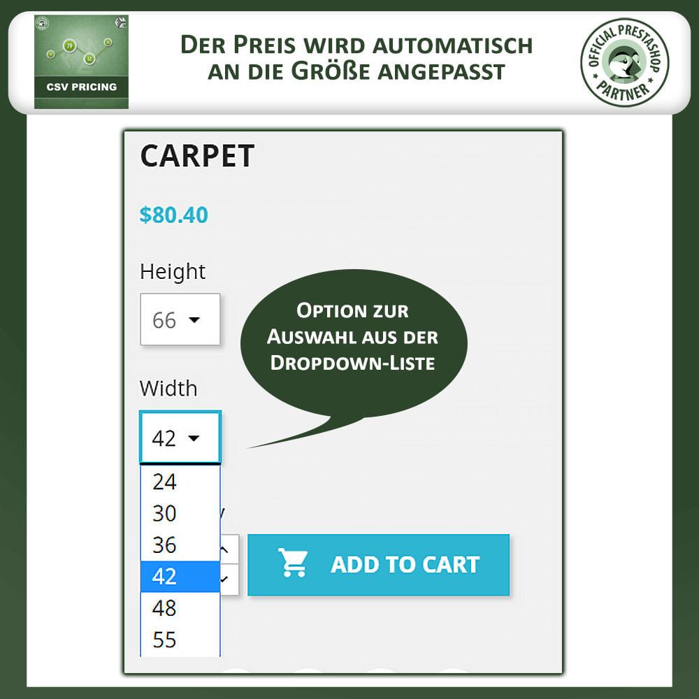 module - Größen & Einheiten - CSV Preisgestaltung - Flächenbasierte Preisgestaltung - 2