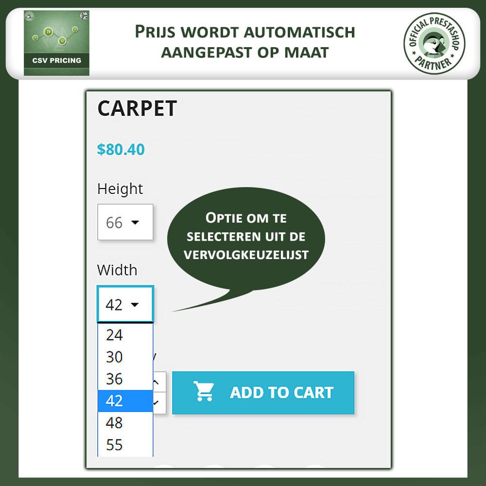 module - Omvang en eenheden - CSV-prijzen - Prijs op Basis van Lengte en Breedte - 2