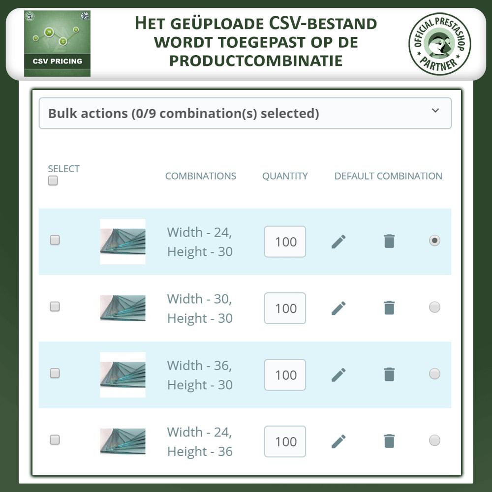 module - Omvang en eenheden - CSV-prijzen - Prijs op Basis van Lengte en Breedte - 5