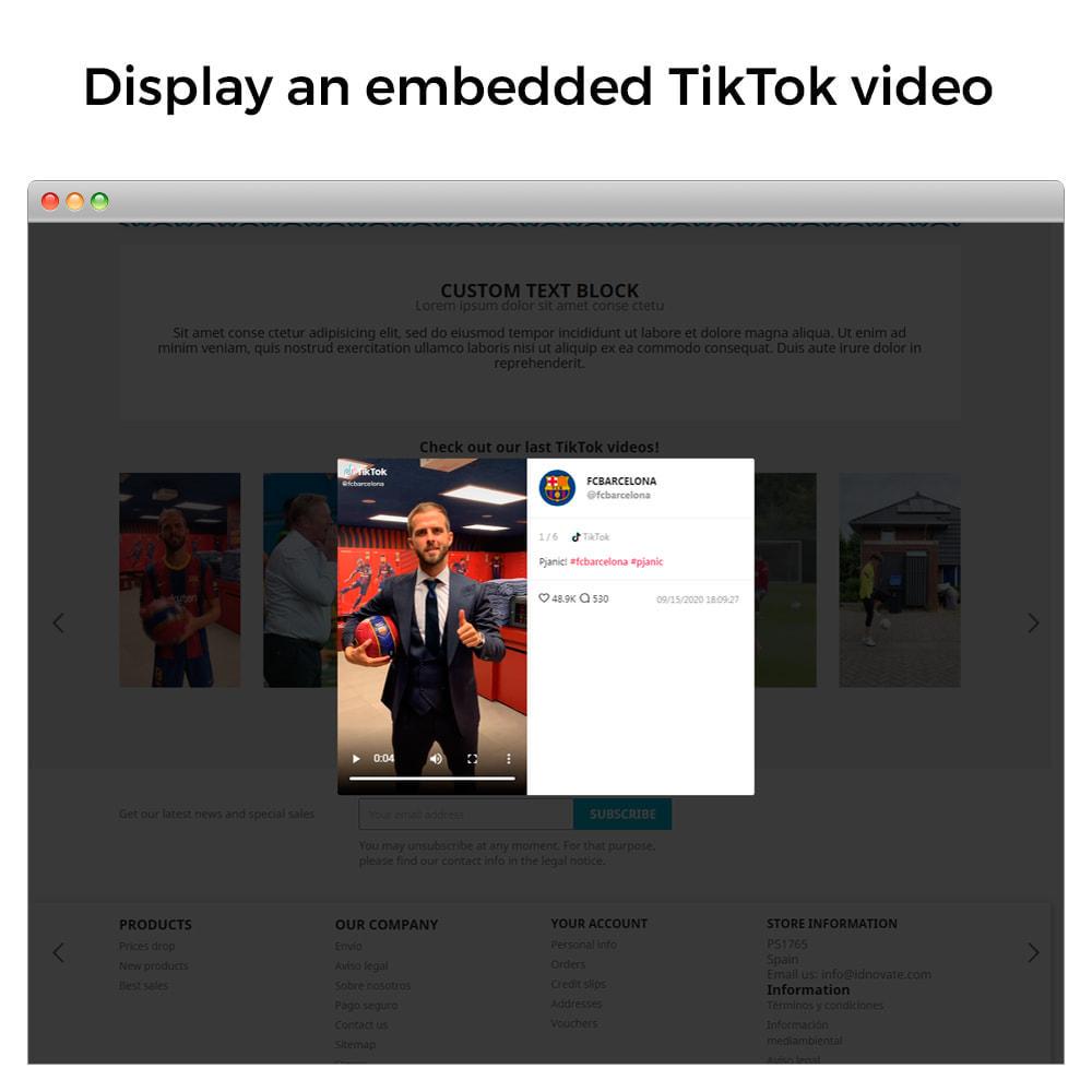 module - Social Widget - TikTok Feed Slider - Insert Videos On Your Store - 3