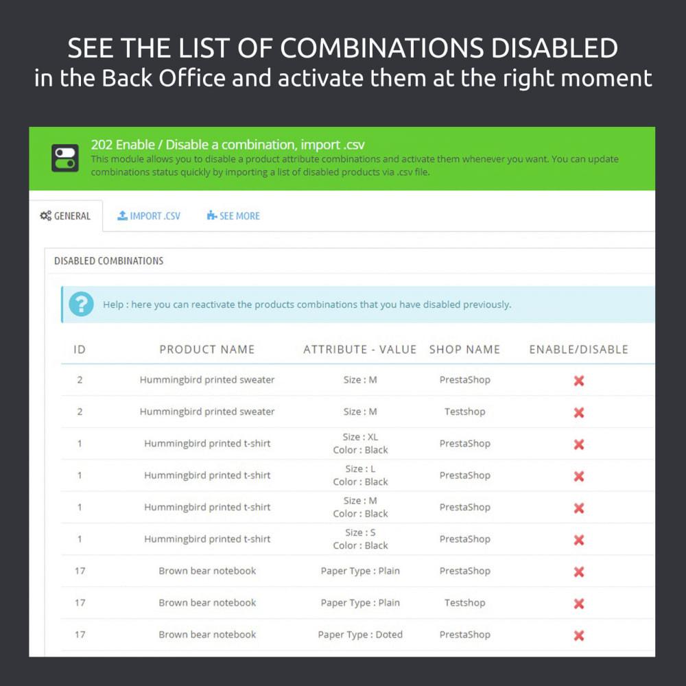 module - Вариаций и персонализации товаров - Enable / Disable a Combination, Import .csv - 3