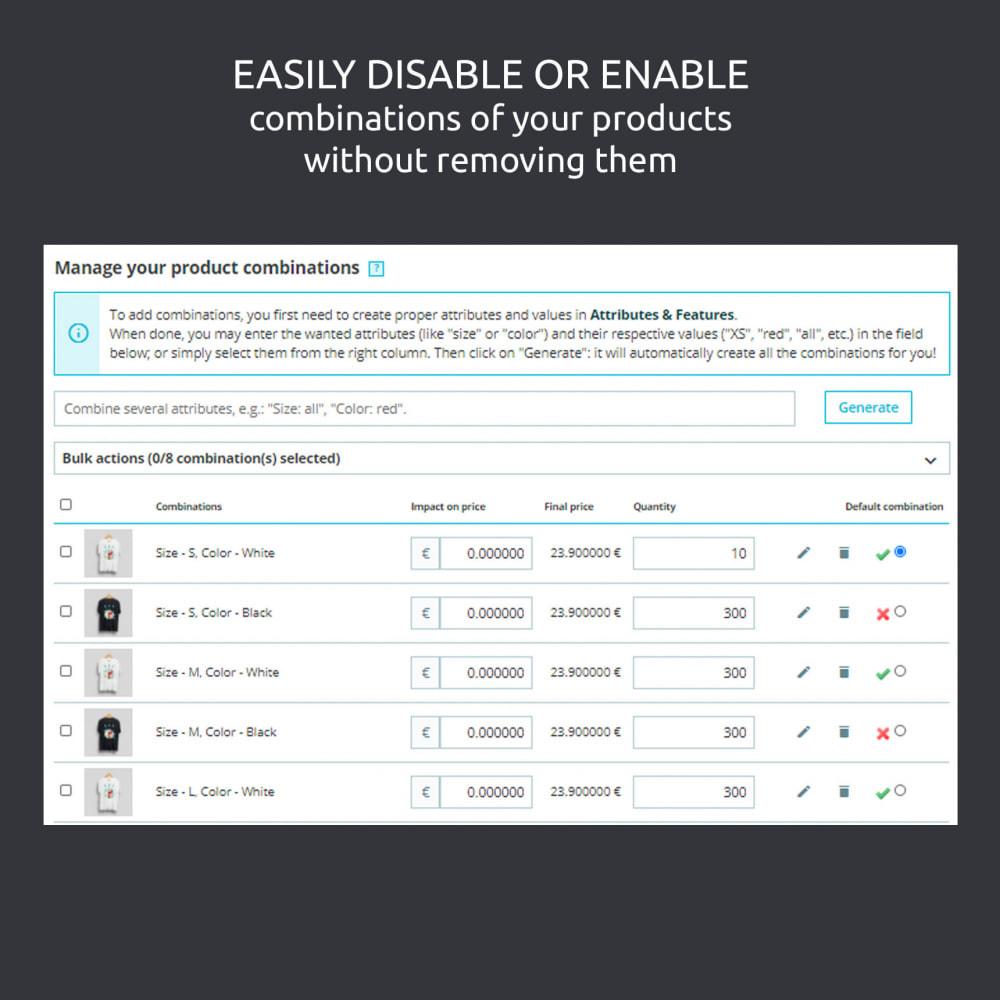 module - Вариаций и персонализации товаров - Enable / Disable a Combination, Import .csv - 4
