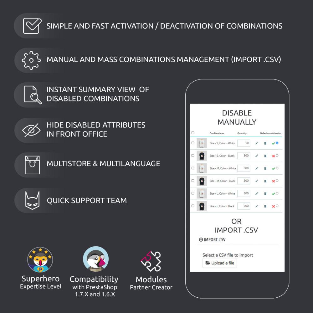 module - Вариаций и персонализации товаров - Enable / Disable a Combination, Import .csv - 7