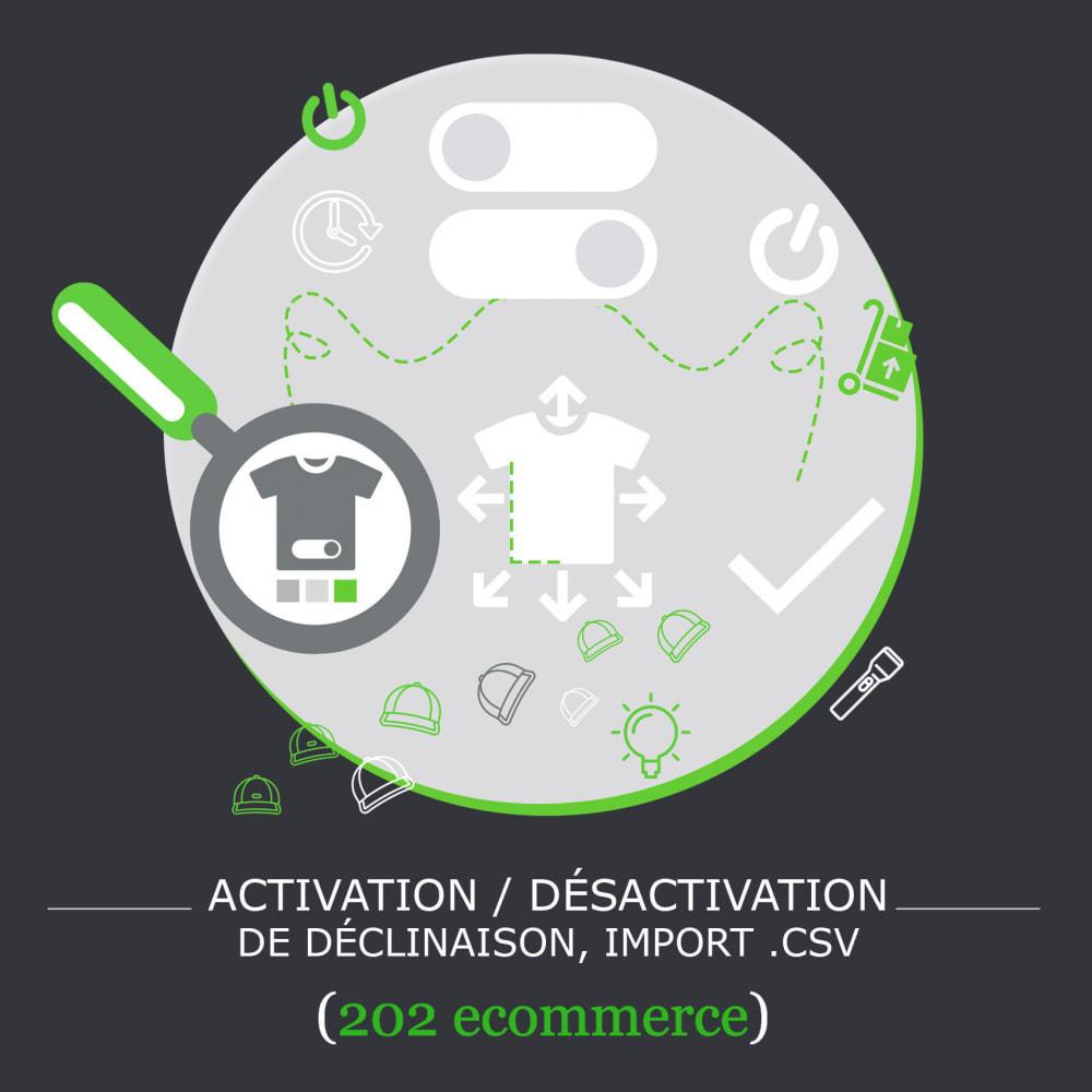 module - Déclinaisons & Personnalisation de produits - Activation / Désactivation de déclinaison, import .csv - 2