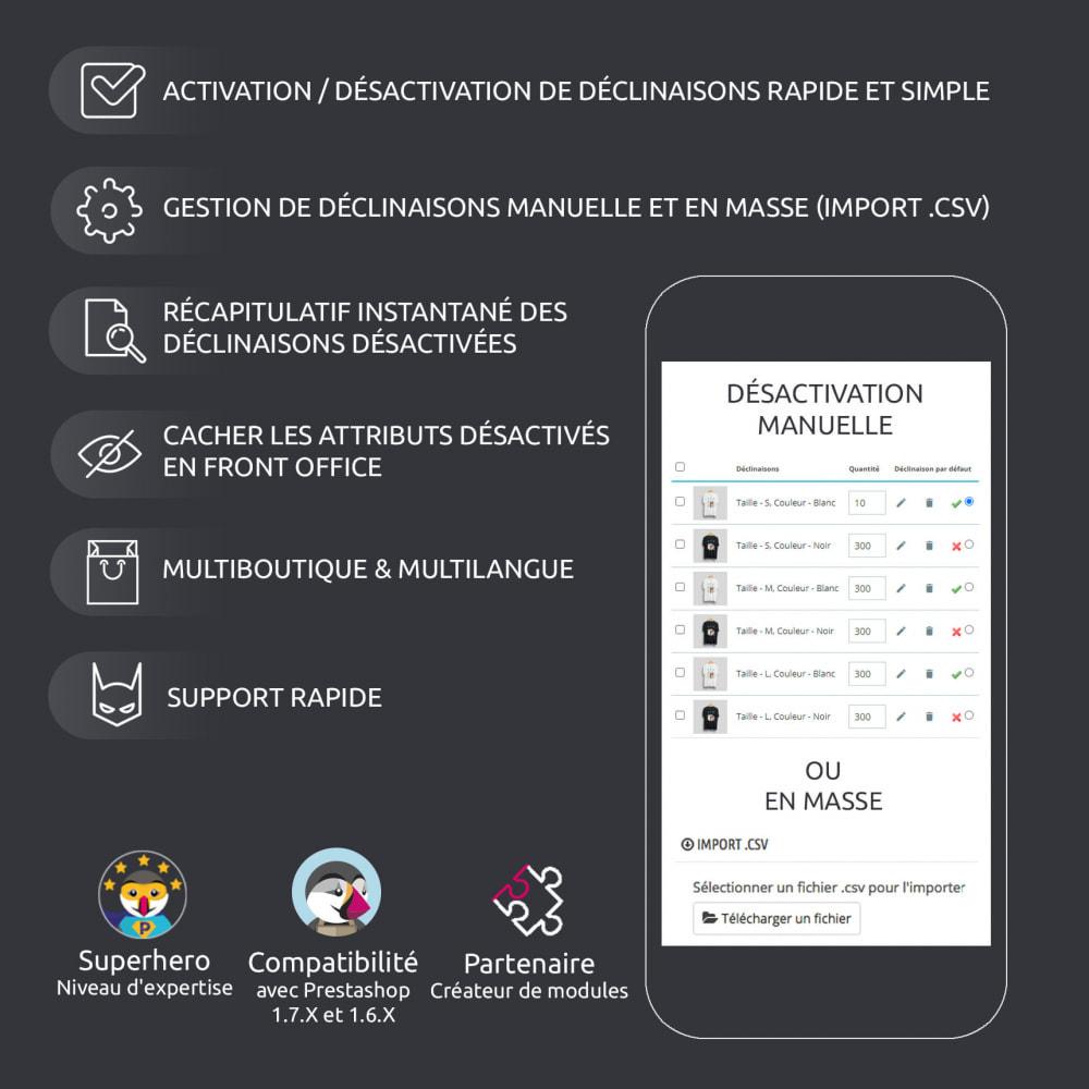 module - Déclinaisons & Personnalisation de produits - Activation / Désactivation de déclinaison, import .csv - 7