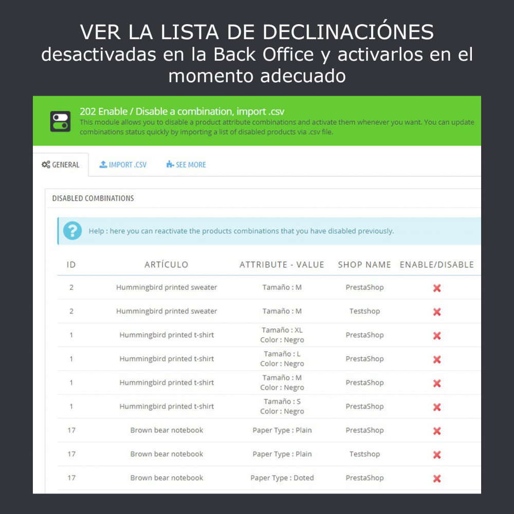 module - Combinaciones y Personalización de productos - Activación/desactivación de declinaciones, import .csv - 2