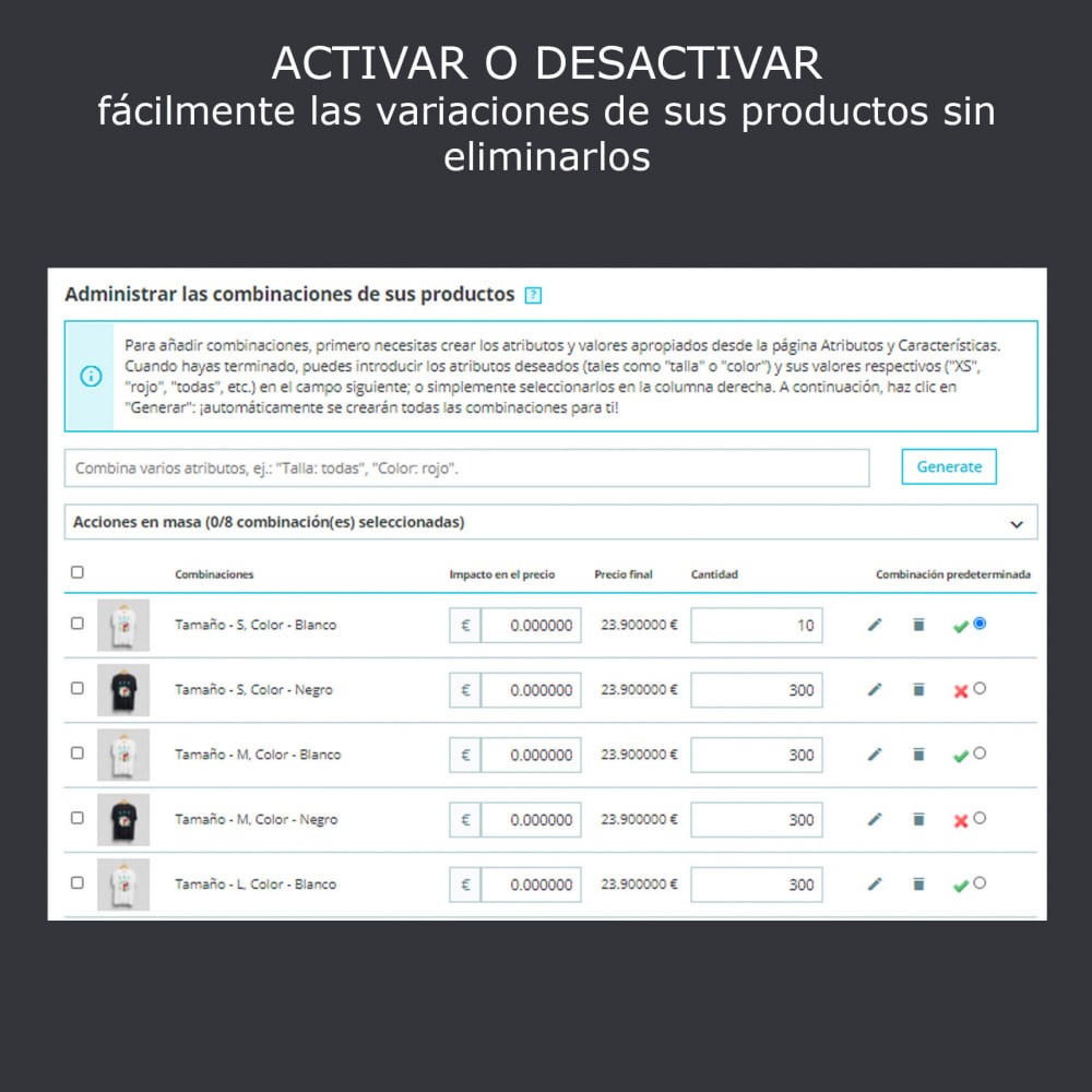 module - Combinaciones y Personalización de productos - Activación/desactivación de declinaciones, import .csv - 3
