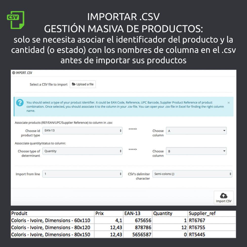 module - Combinaciones y Personalización de productos - Activación/desactivación de declinaciones, import .csv - 5