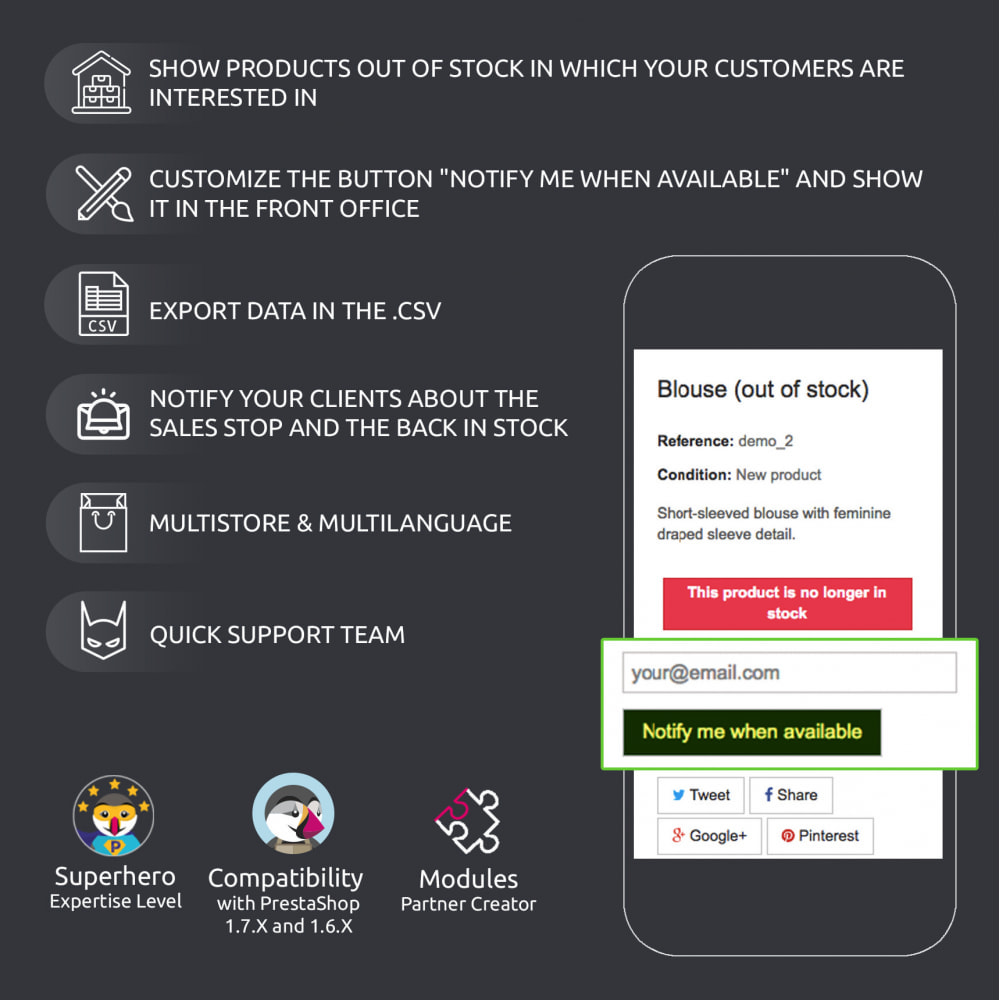 module - Stock & Supplier Management - Product Out of Stock : Emails and Number of Requests - 7
