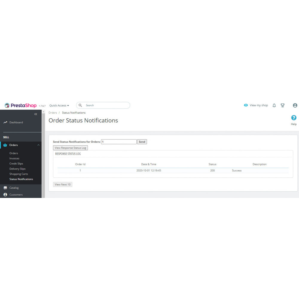 module - Conexão com software de terceiros (CRM, ERP...) - API WebHook de notificações push de status do pedido - 3