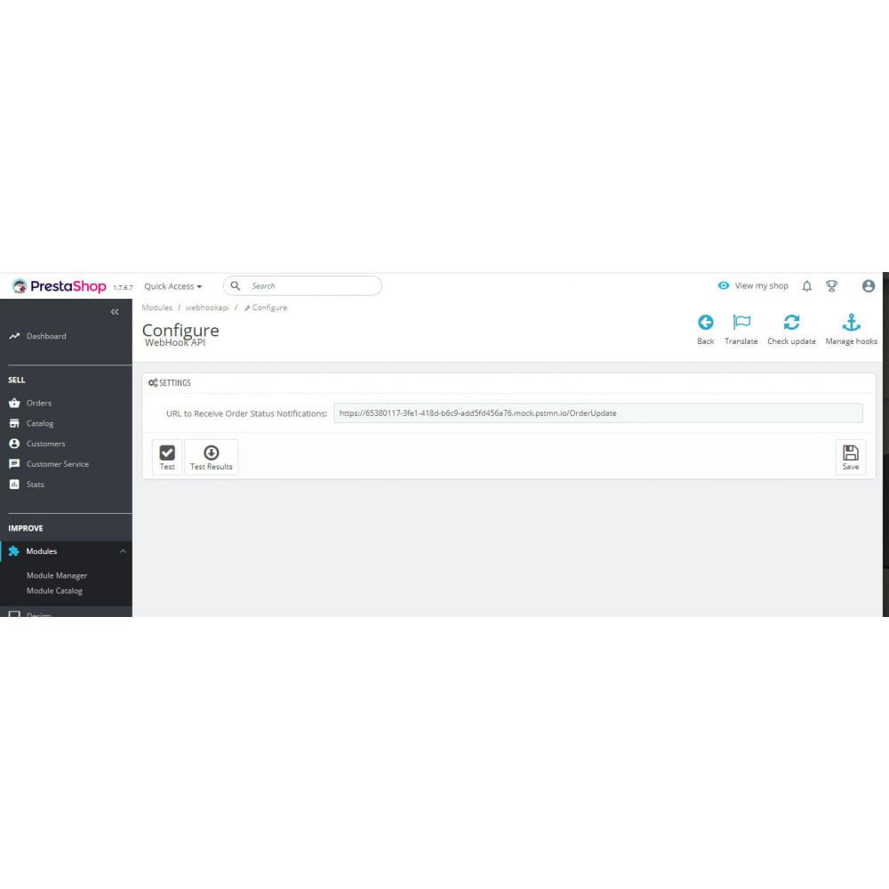 module - Conexão com software de terceiros (CRM, ERP...) - API WebHook de notificações push de status do pedido - 8