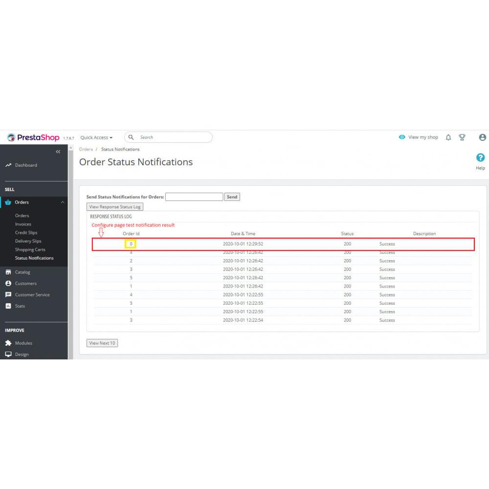 module - Conexão com software de terceiros (CRM, ERP...) - API WebHook de notificações push de status do pedido - 9