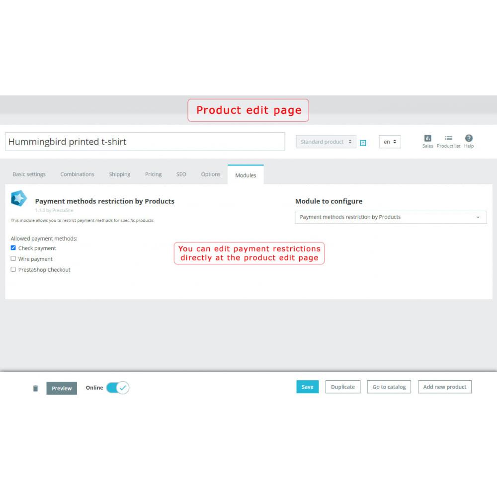 module - Inne środki płatności - Payment methods restriction by Products - 2
