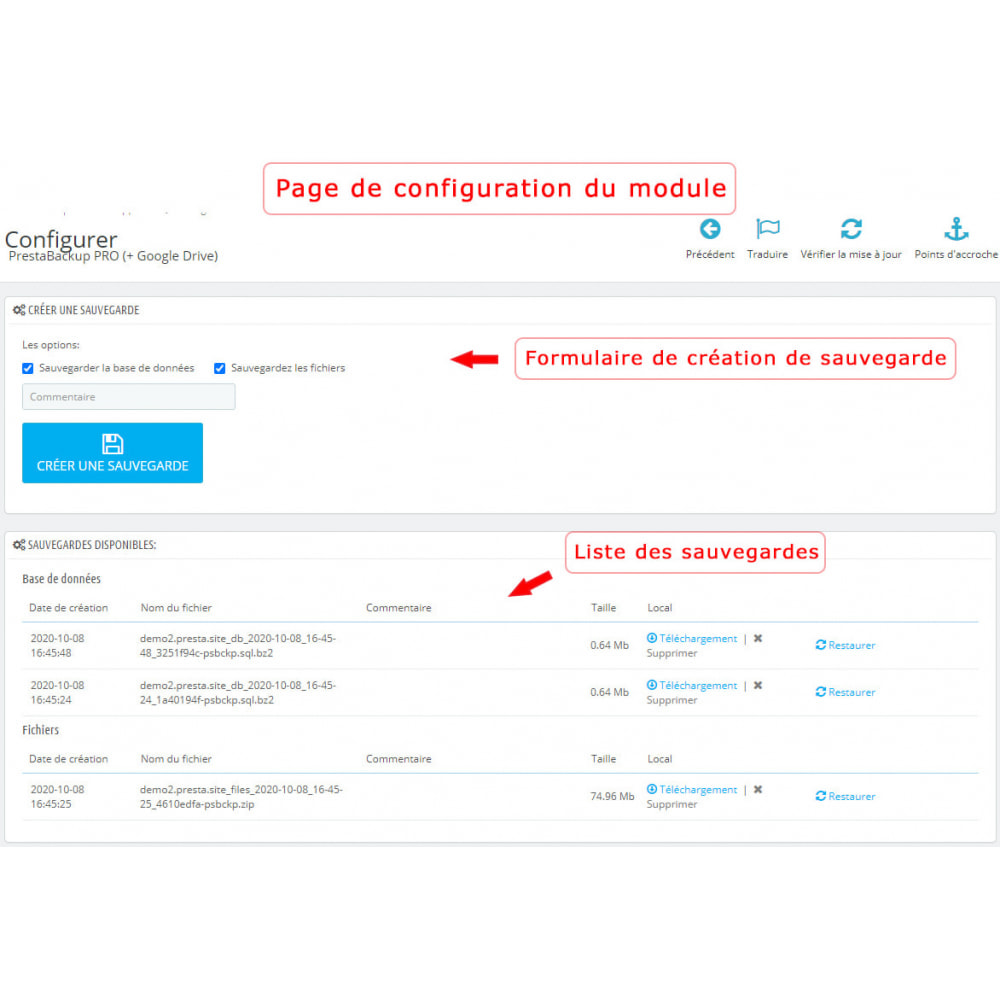 module - Migration de Données & Sauvegarde - PrestaBackup PRO (+ Google Drive) - 1