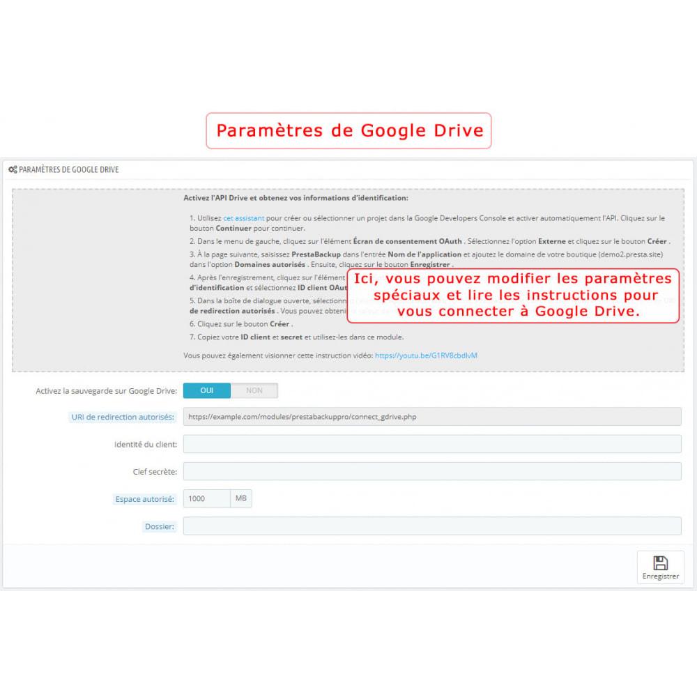 module - Migration de Données & Sauvegarde - PrestaBackup PRO (+ Google Drive) - 4