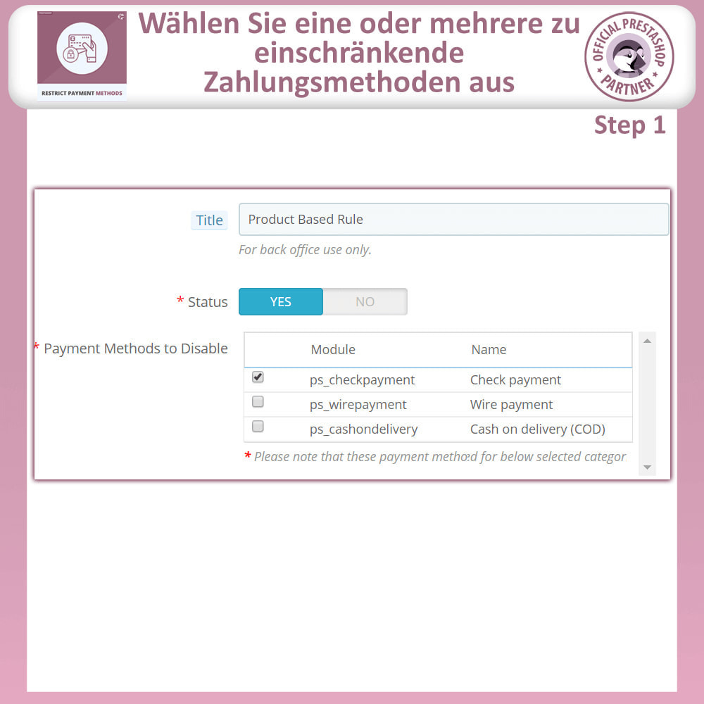 module - Andere Zahlungsmethoden - Beschränken Sie die Zahlungsmethoden - 6