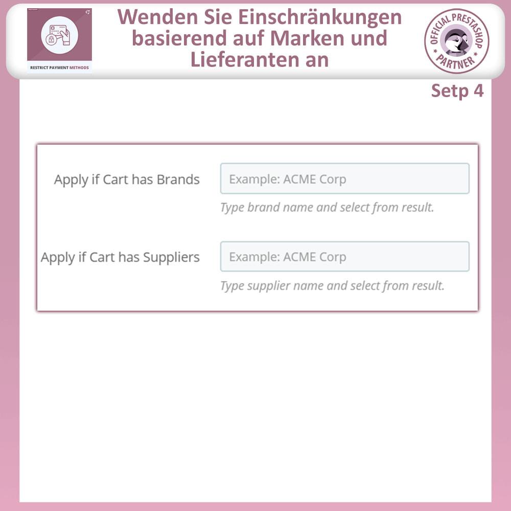 module - Andere Zahlungsmethoden - Beschränken Sie die Zahlungsmethoden - 9