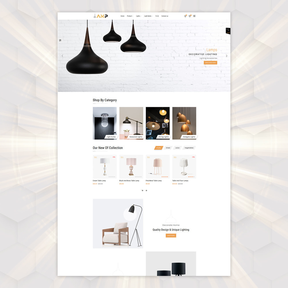 theme - PrestaShop Templates - AMP Lighting Store - 2