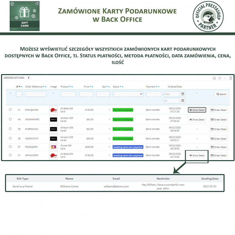 module - Lista życzeń & Karta podarunkowa - Karta Podarunkowa - 16