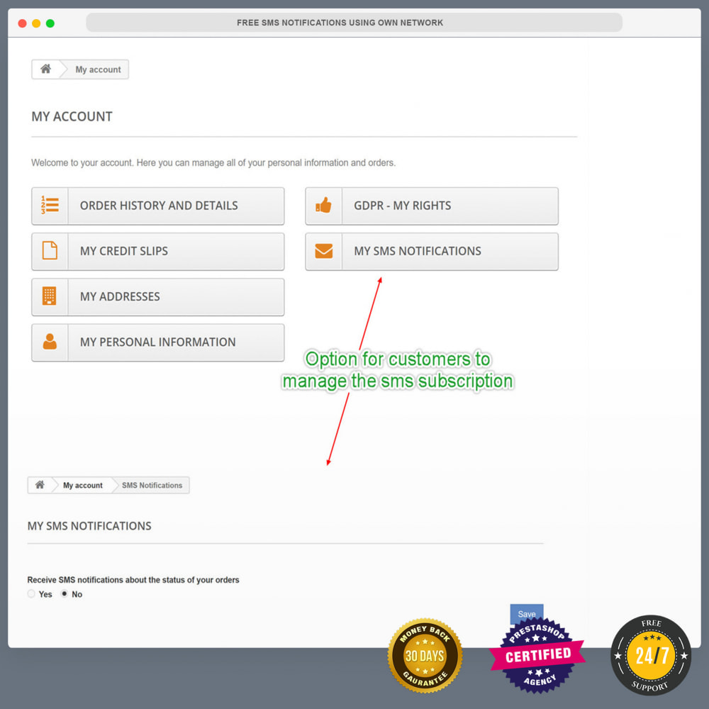 module - Newsletter & SMS - Bezpłatne powiadomienia SMS za pomocą własnej sieci - 26