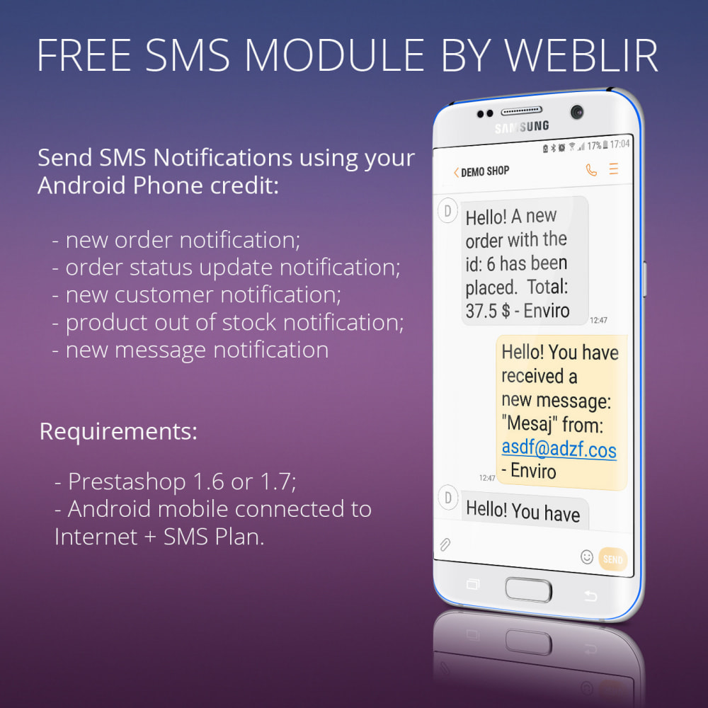module - Newsletter & SMS - Free SMS Notifications using own mobile and SIM card - 2
