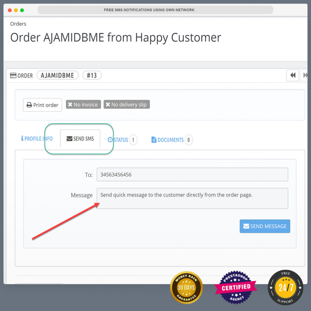 module - Newsletter & SMS - Free SMS Notifications using own mobile and SIM card - 10