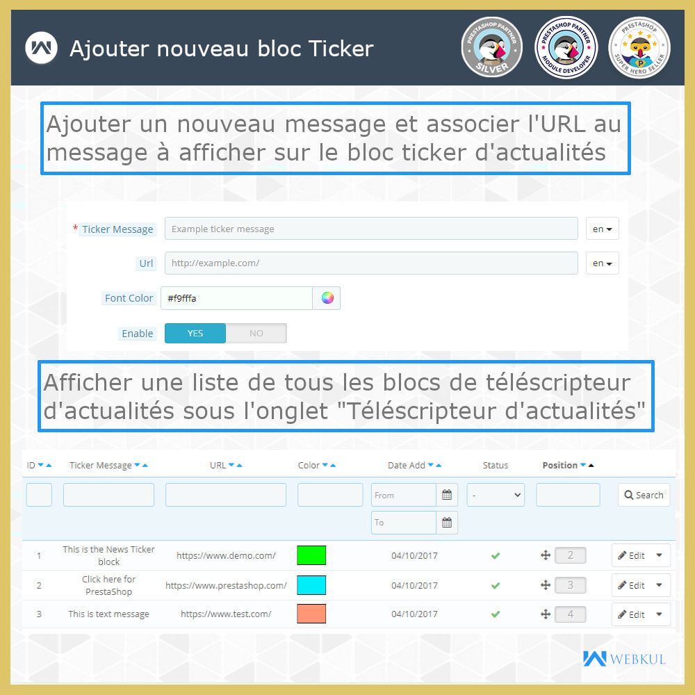 module - Outils de navigation - Nouvelles Ticker Bloc - 3