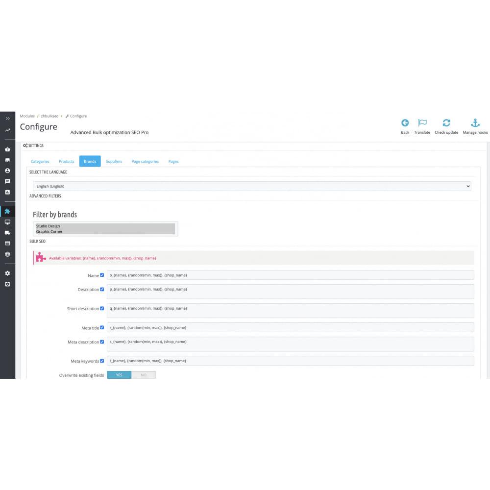 module - SEO (Indicizzazione naturale) - Advanced Bulk/Batch optimization SEO Pro - 8
