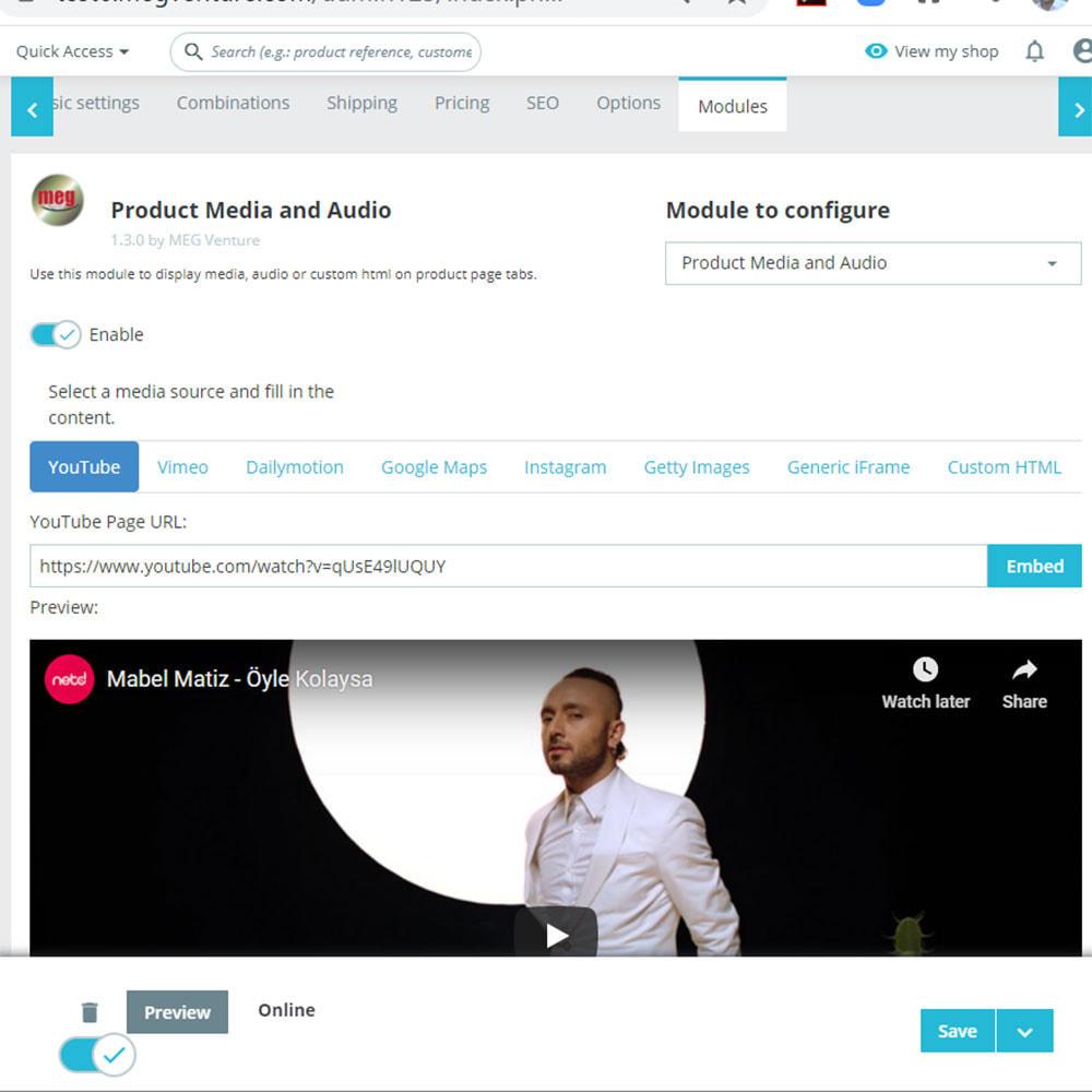 module - Videos & Music - Product Media and Audio (Youtube / Audio / Custom HTML) - 2