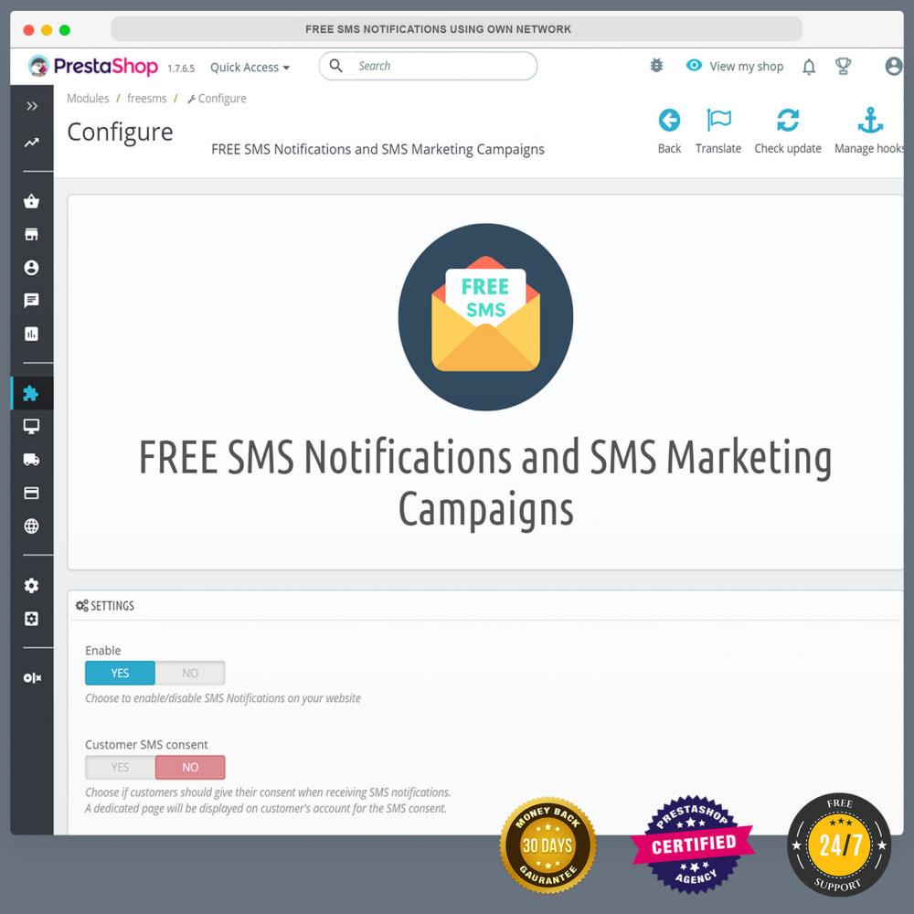 module - Newsletter & SMS - Notifications SMS gratuites en utilisant propre réseau - 10