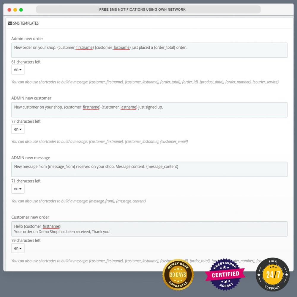module - Newsletter & SMS - Notifications SMS gratuites en utilisant propre réseau - 7