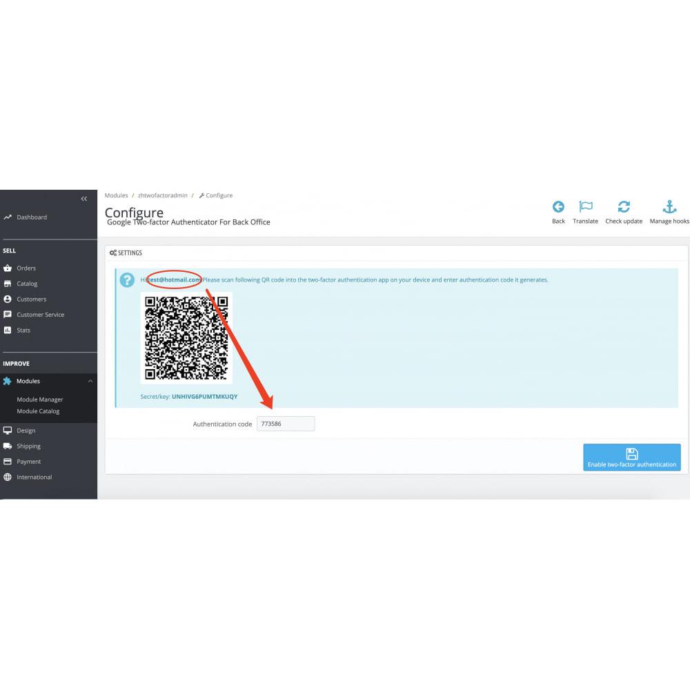 module - Bezpieczeństwa & Dostępu - Google Two-factor Authenticator For Back Office - 2