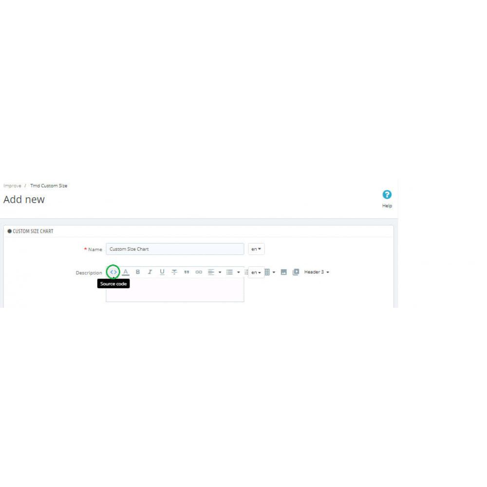 module - Дополнительной информации и вкладок товара - Custom Size Chart - 8