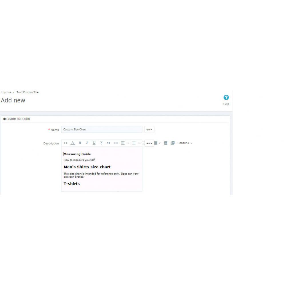 module - Дополнительной информации и вкладок товара - Custom Size Chart - 10
