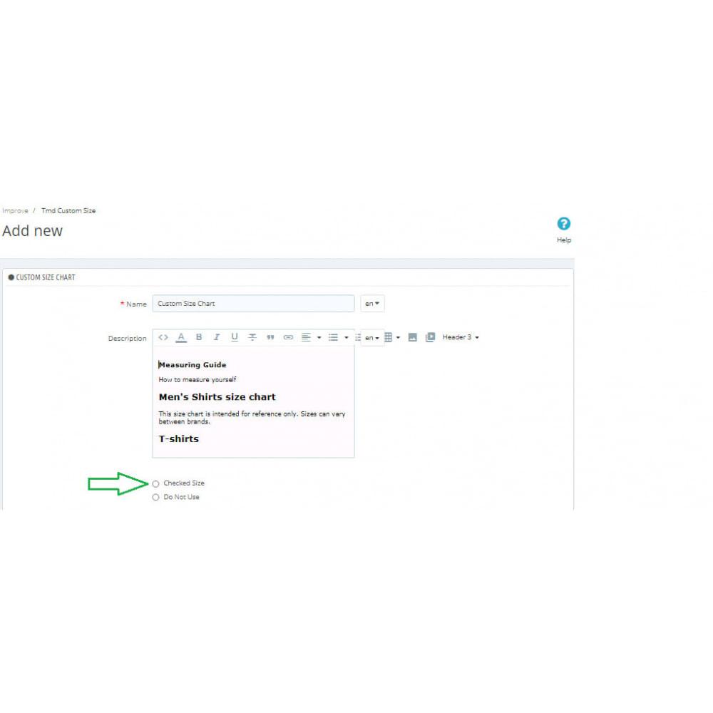 module - Дополнительной информации и вкладок товара - Custom Size Chart - 11